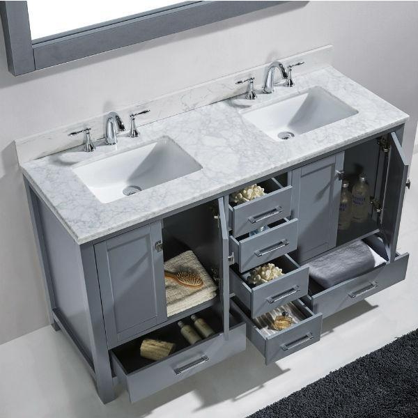 Virtu Caroline Avenue 60″ Grey Double Bathroom Vanity w/ White Top GD-50060 GD-50060-WMRO-GR-NM
