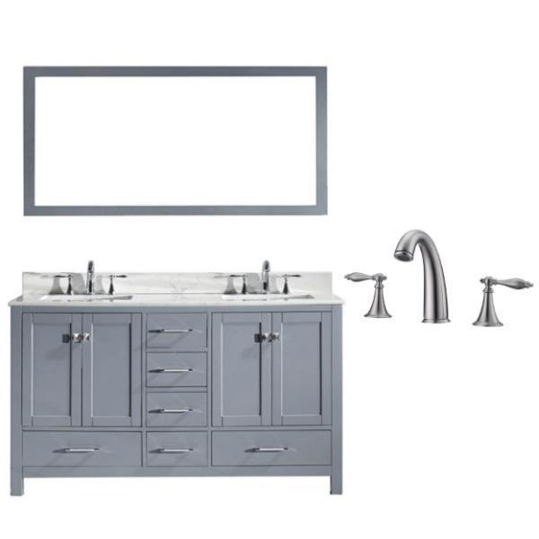 Virtu Caroline Avenue 60″ Grey Double Bathroom Vanity w/ White Top GD-50060 GD-50060-WMSQ-GR-001
