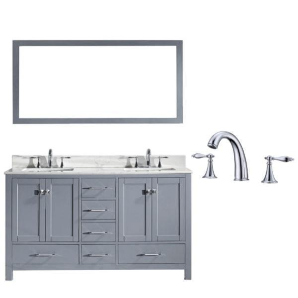 Virtu Caroline Avenue 60″ Grey Double Bathroom Vanity w/ White Top GD-50060 GD-50060-WMSQ-GR-002