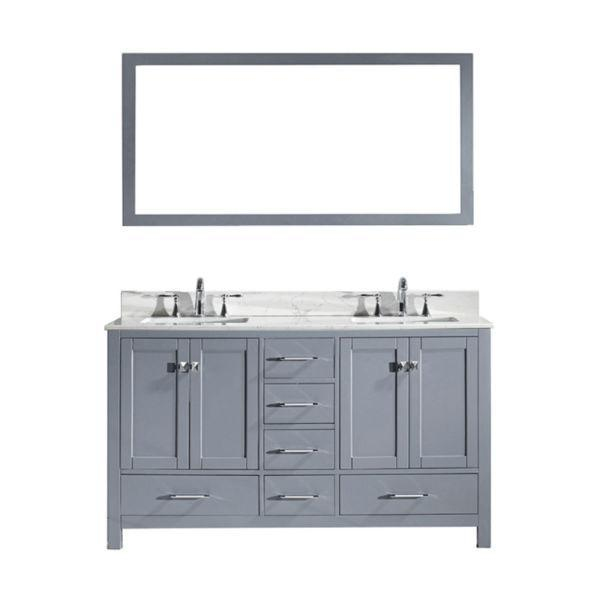 Virtu Caroline Avenue 60″ Grey Double Bathroom Vanity w/ White Top GD-50060 GD-50060-WMSQ-GR