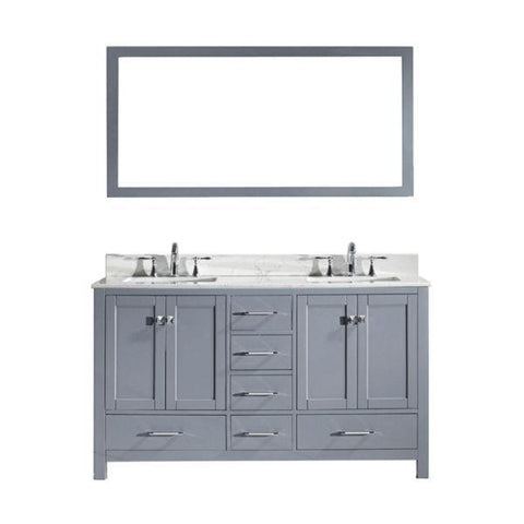 Image of Virtu Caroline Avenue 60″ Grey Double Bathroom Vanity w/ White Top GD-50060 GD-50060-WMSQ-GR