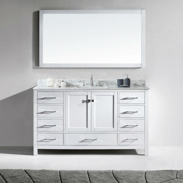 "Virtu Caroline Avenue 60"" White Single Bathroom Vanity w/ White Top GS-50060 GS-50060-WMRO-WH"