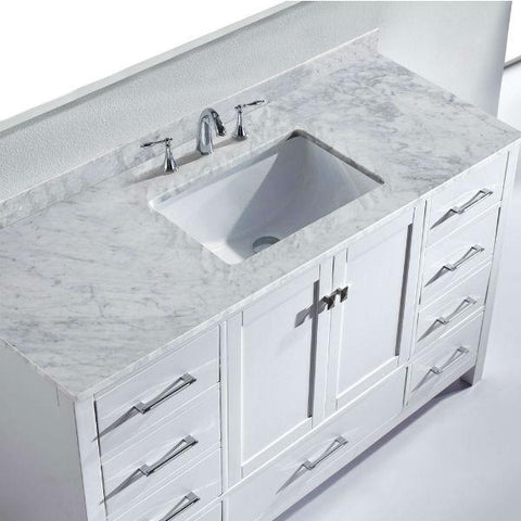 "Image of Virtu Caroline Avenue 60"" White Single Bathroom Vanity w/ White Top GS-50060 GS-50060-WMRO-WH"