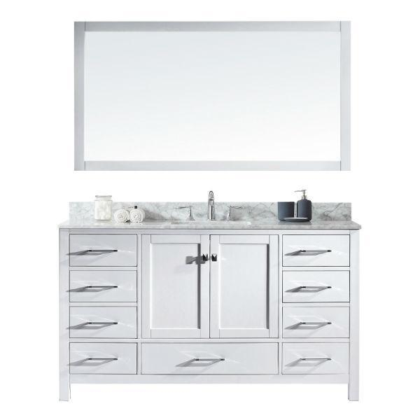 "Virtu Caroline Avenue 60"" White Single Bathroom Vanity w/ White Top GS-50060 GS-50060-WMSQ-WH"