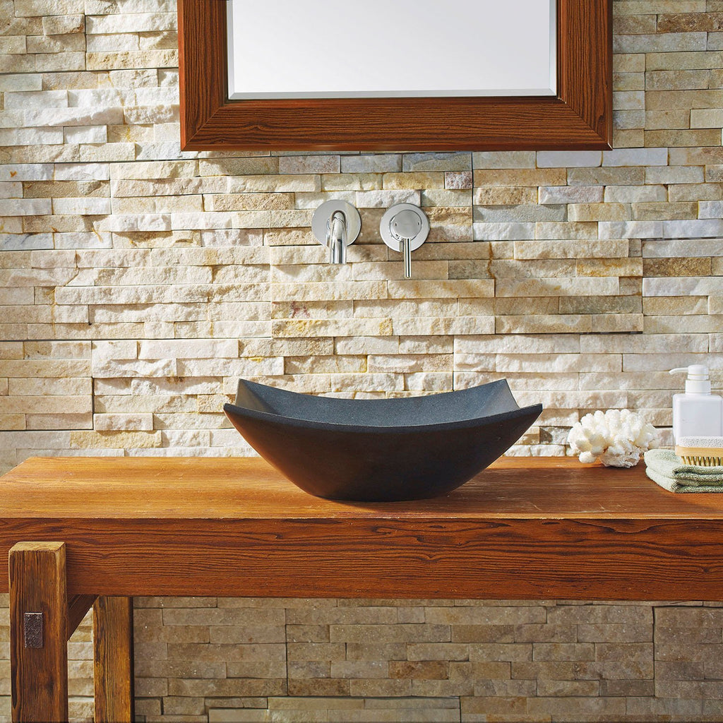 Virtu USA Apollo Natural Stone Bathroom Vessel Sink in Shanxi Black Granite VST-2003-BAS