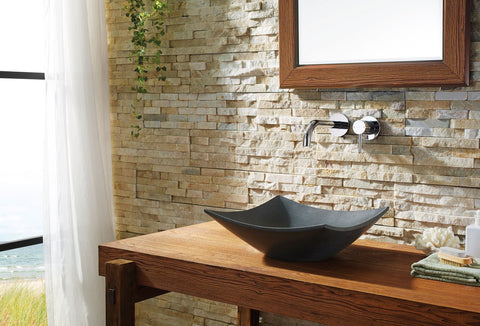 Image of Virtu USA Apollo Natural Stone Bathroom Vessel Sink in Shanxi Black Granite VST-2003-BAS