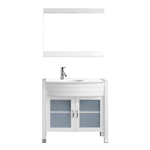 "Virtu USA Ava 36"" Single Vanity with Aqua Tempered Glass countertop UM-3071-S-WH"