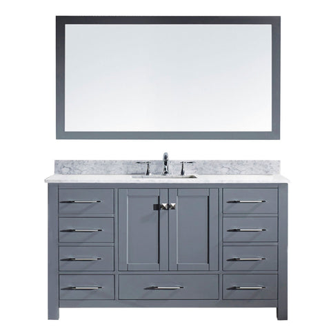 "Virtu USA Caroline 60"" Single Bathroom Vanity MS-2060-WMRO-GR"