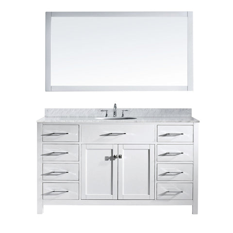 "Virtu USA Caroline 60"" Single Bathroom Vanity MS-2060-WMRO-WH"