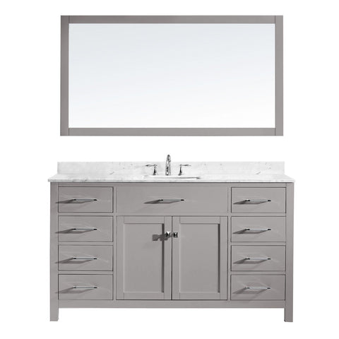 "Virtu USA Caroline 60"" Single Bathroom Vanity MS-2060-WMSQ-CG"