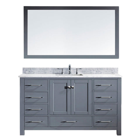 "Virtu USA Caroline 60"" Single Bathroom Vanity MS-2060-WMSQ-GR"