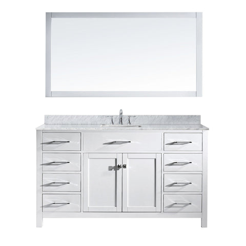 "Virtu USA Caroline 60"" Single Bathroom Vanity MS-2060-WMSQ-WH"