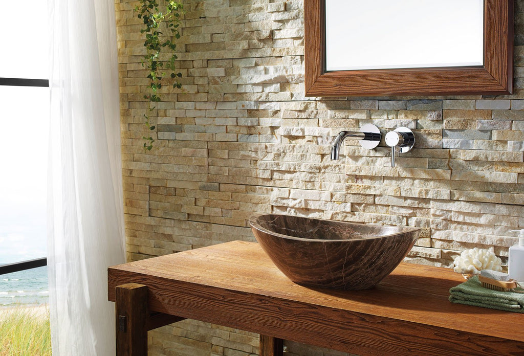 Virtu USA Doris Natural Stone Bathroom Vessel Sink in Coffee Marble VST-2069-BAS