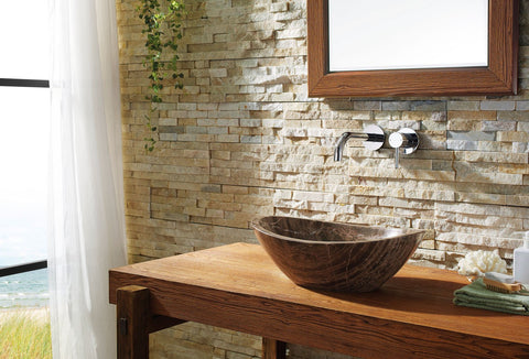 Image of Virtu USA Doris Natural Stone Bathroom Vessel Sink in Coffee Marble VST-2069-BAS