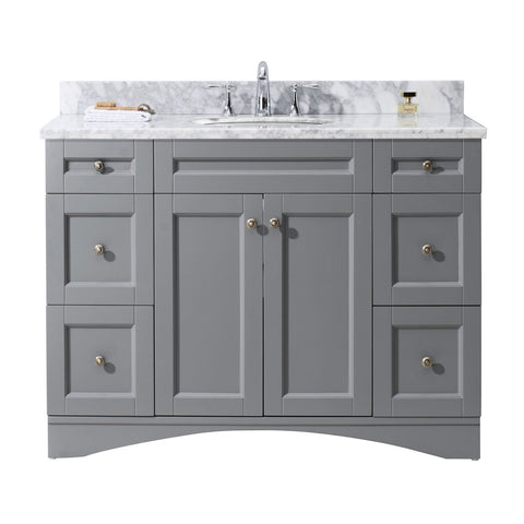 "Virtu USA Elise 48"" Single Bathroom Vanity with Marble Top ES-32048-WMRO-GR-NM"