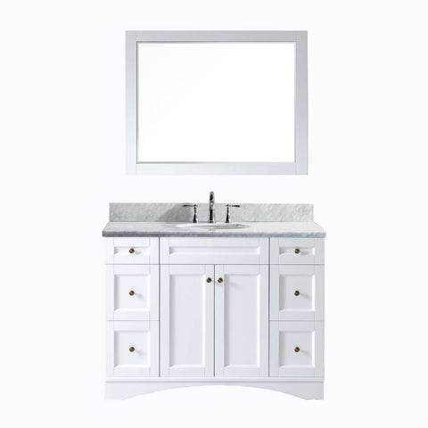 "Virtu USA Elise 48"" Single Bathroom Vanity with Marble Top ES-32048-WMRO-WH"
