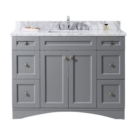 "Virtu USA Elise 48"" Single Bathroom Vanity with Marble Top ES-32048-WMSQ-GR-NM"