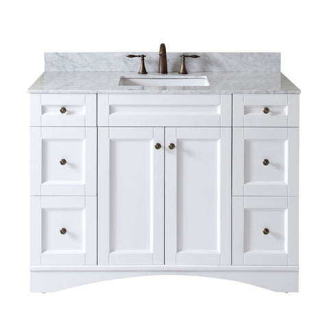 "Virtu USA Elise 48"" Single Bathroom Vanity with Marble Top ES-32048-WMSQ-WH-NM"