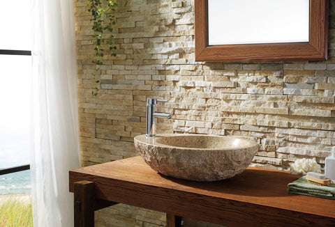 Image of Virtu USA Elysia Natural Stone Bathroom Vessel Sink in G682 Granite VST-2075-BAS