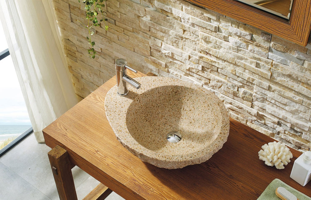 Virtu USA Elysia Natural Stone Bathroom Vessel Sink in G682 Granite VST-2075-BAS