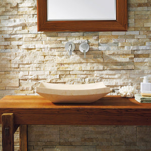 Virtu USA Icarus Natural Stone Bathroom Vessel Sink in Sunny Yellow Marble