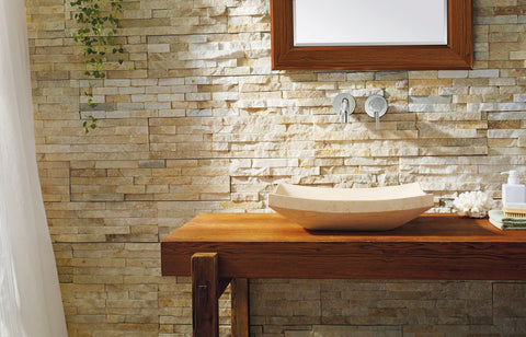 Virtu USA Icarus Natural Stone Bathroom Vessel Sink in Sunny Yellow Marble VST-2013-BAS