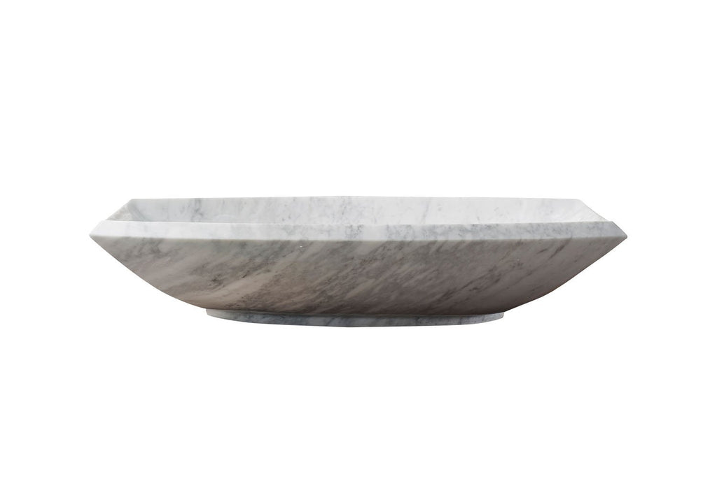 Virtu USA Kirke Natural Stone Bathroom Vessel Sink in Bianco Carrara Marble VST-99IT-BAS
