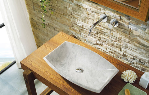 Image of Virtu USA Kirke Natural Stone Bathroom Vessel Sink in Bianco Carrara Marble VST-99IT-BAS