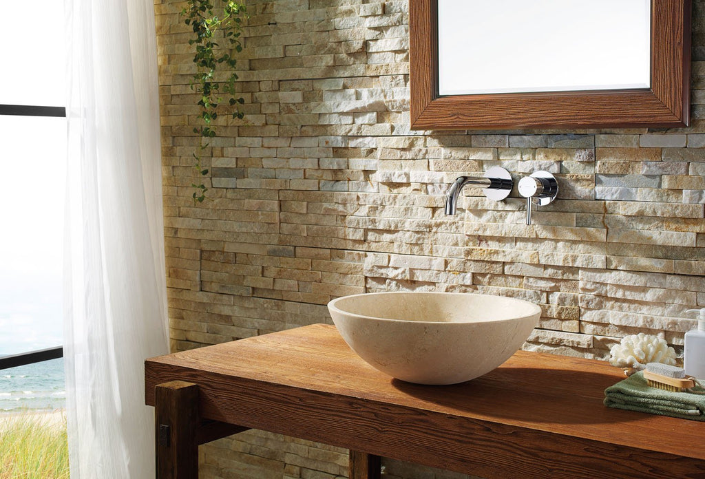 Virtu USA Nyx Natural Stone Bathroom Vessel Sink in Beige Travertine Marble VST-2133-BAS