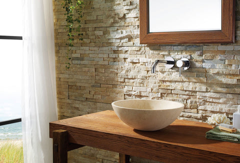 Image of Virtu USA Nyx Natural Stone Bathroom Vessel Sink in Beige Travertine Marble VST-2133-BAS