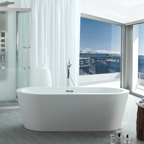 "Image of Virtu USA Serenity 63"" x 29.5"" Freestanding Soaking Bathtub VTU-1263"
