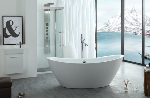 "Virtu USA Serenity 71"" x 34.64"" Freestanding Soaking Bathtub VTU-1571"