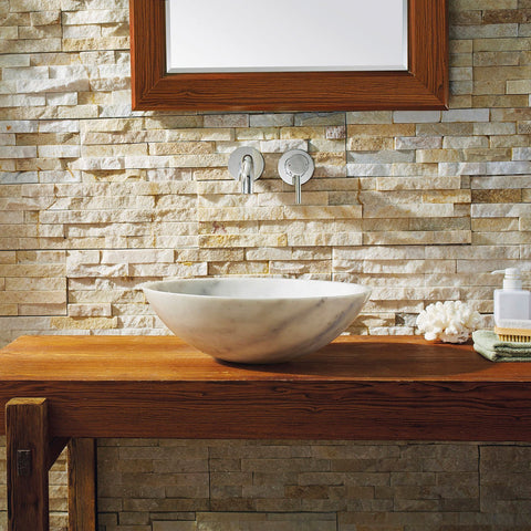 Virtu USA Thia Natural Stone Bathroom Vessel Sink in Guangxi White Marble VST-2107-BAS