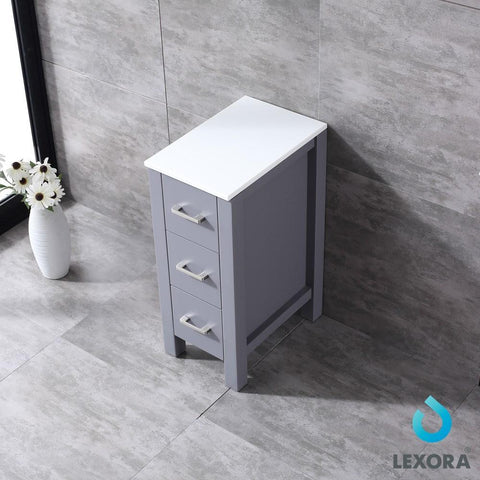 "Image of Volez 12"" Dark Grey Side Vanity Cabinet Storage Organizer Phoenix Stone Top LV281712BFSSCB"