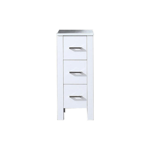 "Image of Volez 12"" White Side Bathroom Vanity Cabinet Storage Organizer Phoenix Stone Top LV281712AFSSCB"