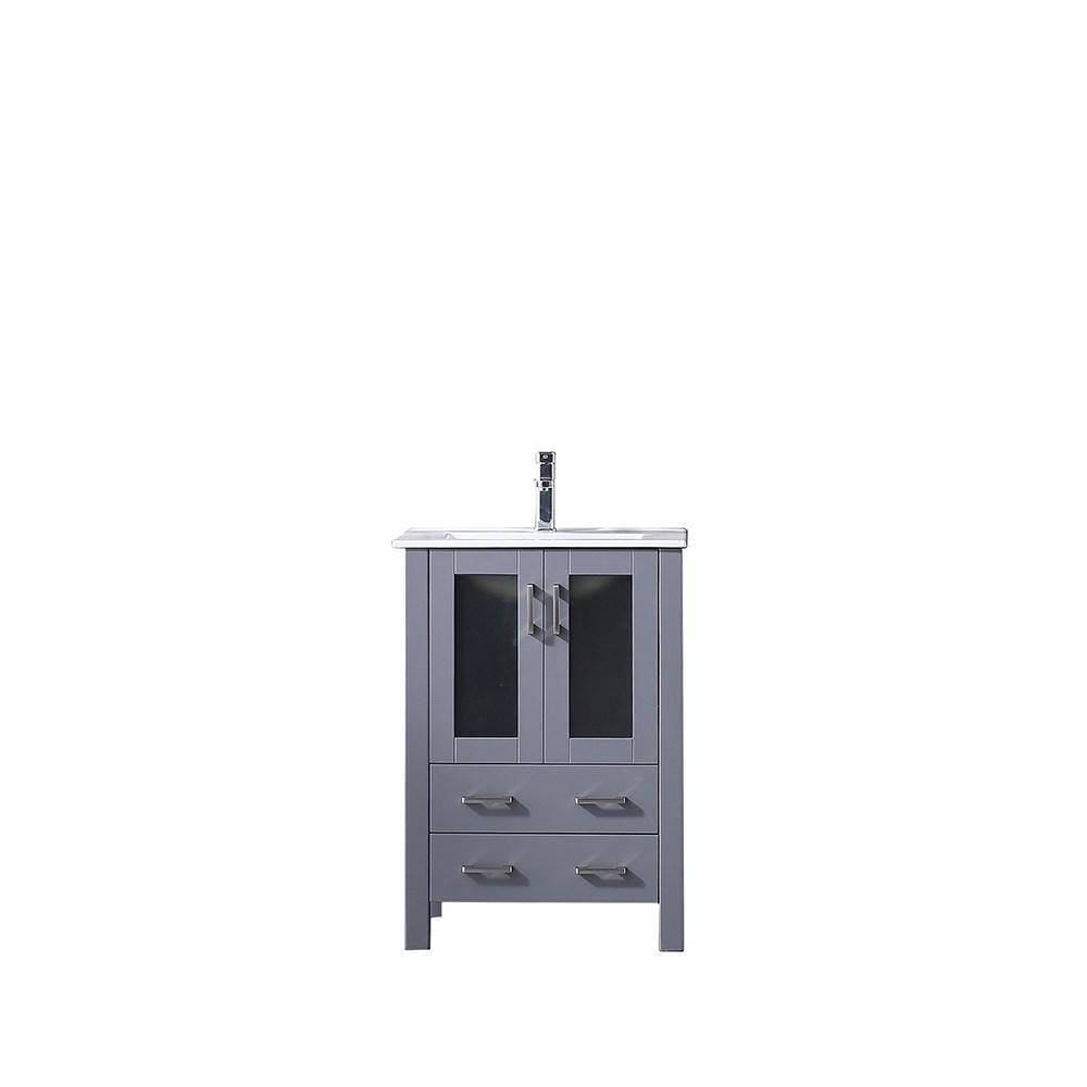 "Volez 24"" Dark Grey Single Vanity Cabinet Integrated Top Integrated Square Sink LV341824SBES000"