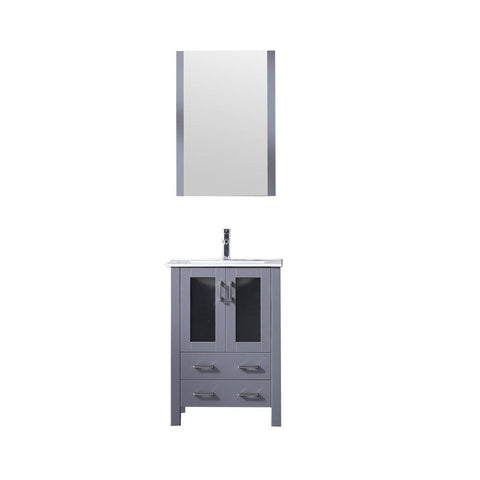 "Volez 24"" Dark Grey Single Vanity Integrated Top Sink & 22"" Wall Mirror LV341824SBESM22"