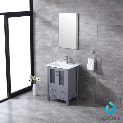 "Image of Volez 24"" Dark Grey Single Vanity Integrated Top Sink & 22"" Wall Mirror LV341824SBESM22"