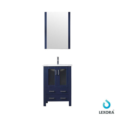 "Volez 24"" Navy Blue Single Vanity Integrated Top Sink & 22"" Wall Mirror LV341824SEESM22"
