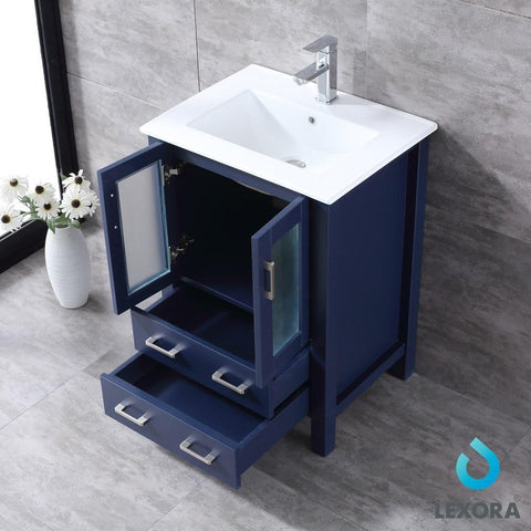 "Image of Volez 24"" Navy Blue Single Vanity Integrated Top Sink & 22"" Wall Mirror LV341824SEESM22"