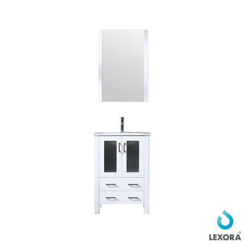 "Volez 24"" Single Vanity Cabinet Integrated Top Integrated Sink & 22"" Wall Mirror LV341824SAESM22"