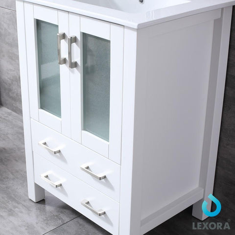 "Image of Volez 24"" Single Vanity Cabinet Integrated Top Integrated Sink & 22"" Wall Mirror LV341824SAESM22"