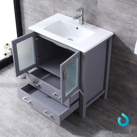 "Image of Volez 30"" Dark Grey Single Vanity Integrated Top Sink & 28"" Wall Mirror LV341830SBESM28"