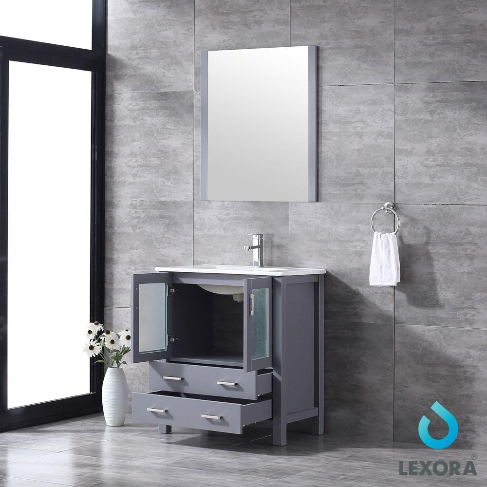 "Volez 30"" Dark Grey Single Vanity Integrated Top Sink & 28"" Wall Mirror LV341830SBESM28"
