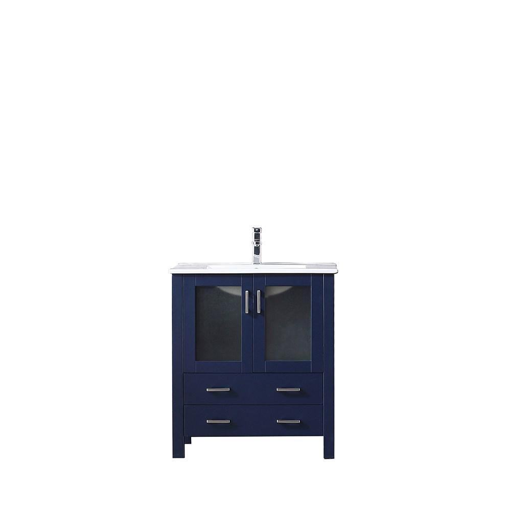 "Volez 30"" Navy Blue Single Vanity Cabinet Integrated Top Integrated Square Sink LV341830SEES000"