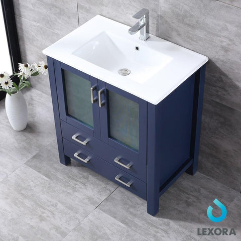 "Image of Volez 30"" Navy Blue Single Vanity Integrated Top Sink & 28"" Wall Mirror LV341830SEESM28"