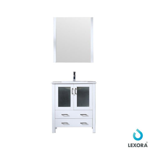 "Image of Volez 30"" Single Vanity Cabinet Integrated Top Integrated Sink & 28"" Wall Mirror LV341830SAESM28"
