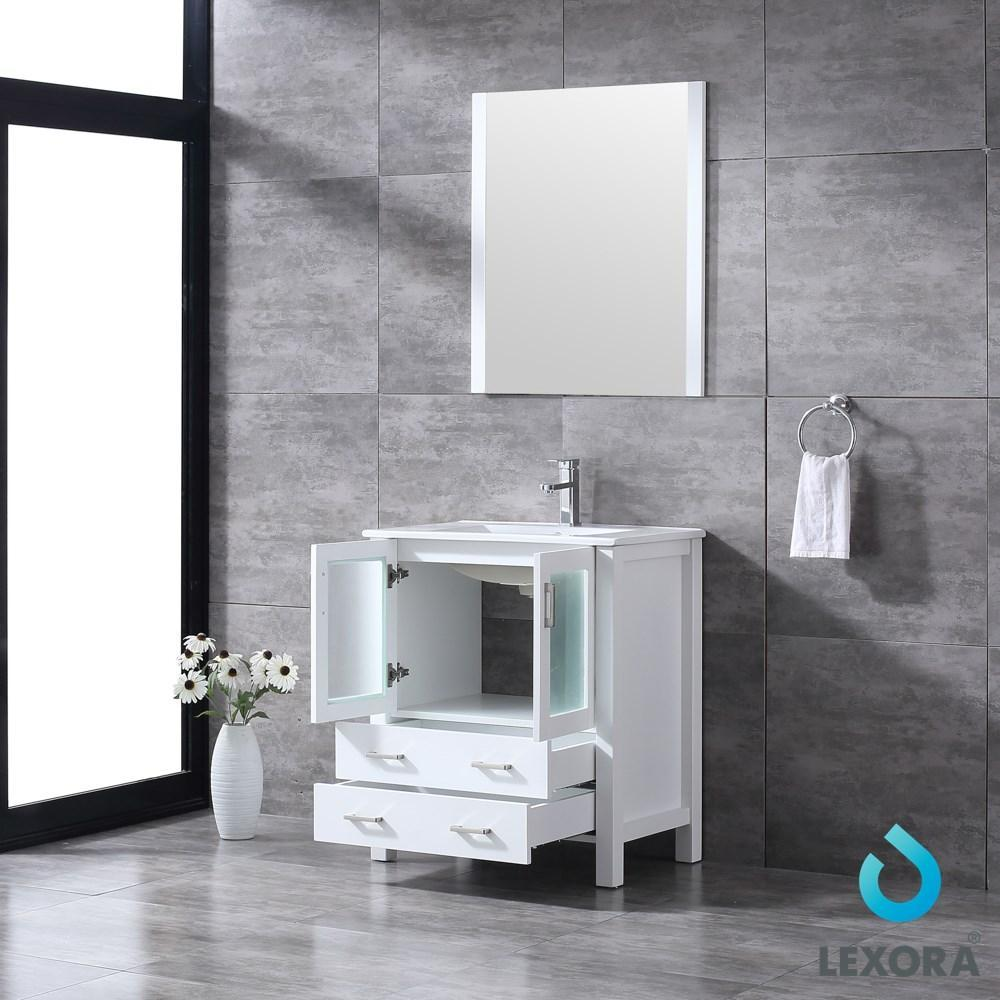 "Volez 30"" Single Vanity Cabinet Integrated Top Integrated Sink & 28"" Wall Mirror LV341830SAESM28"
