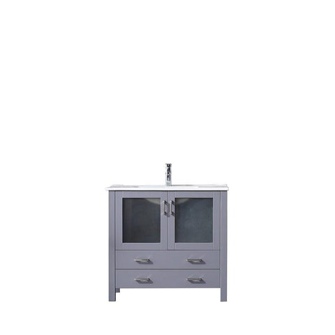 "Volez 36"" Dark Grey Single Vanity Cabinet Integrated Top Integrated Square Sink LV341836SBES000"