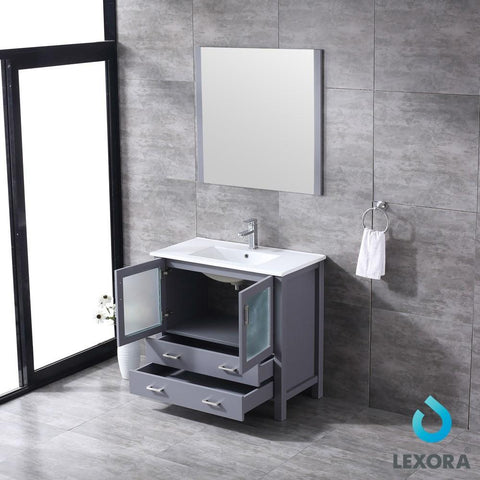 "Volez 36"" Dark Grey Single Vanity Integrated Top Sink & 34"" Wall Mirror LV341836SBESM34"